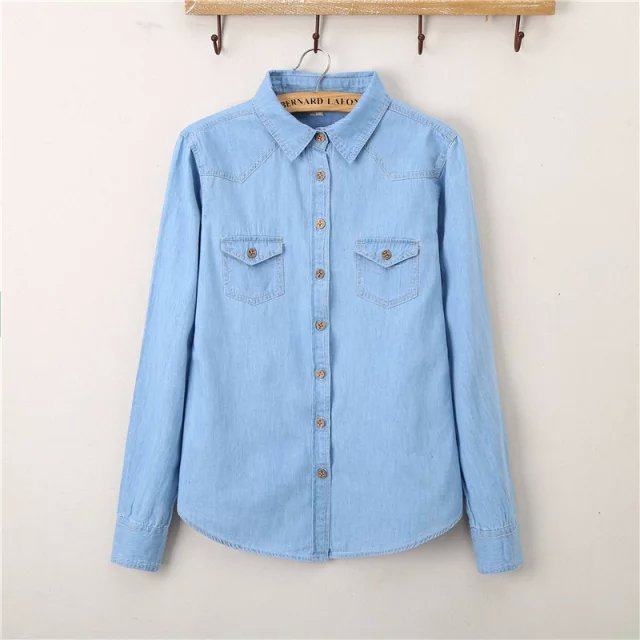 2018 Spring and Autumn New Arrival Women Fashion Casual Long Sleeves Denim Shirts, Female blusas y camisas mujer vetement femme