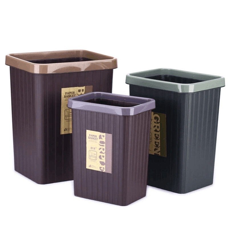 Simple Fashion No cover Square Pressure Ring Trash Can Living Room Toilet Cuisine Thicken Plastic Waste Bin Paper Basket Lixeira