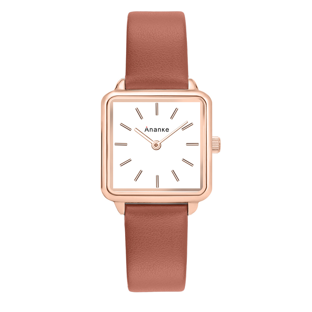 Ananke Women Fashion Square Wristwatches Lady Thin Simple Quartz Watches With Genuine Leather Band Female Clock Montres Femme