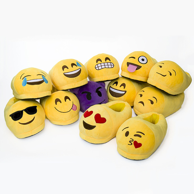 Children's Slippers For Boys Emoji Slippers Cartoon Plush Shoes QQ Expression Winter House Shoes Emoji Smiley Free Size US 5-8