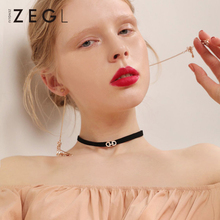 ZEGL personalized short necklace neck chain clavicle ladies fashion black