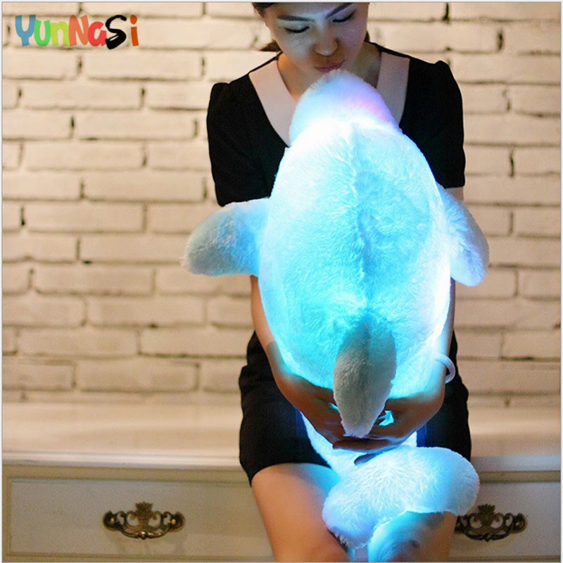 YunNasi 45cm Stuffed Toys Soft Night Light LED Dolphin Toys For Children Glowing Plush Pillow Birthday Gift Doll For Kids Girls mini kawaii plush stuffed animal cartoon kids toys for girls children baby birthday christmas gift angela rabbit metoo doll