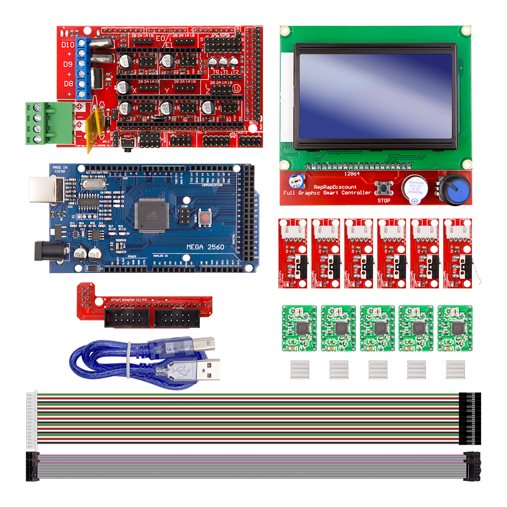 цены CNC 3D Printer Kit for Arduino Mega 2560 R3 + RAMPS 1.4 + LCD 12864 + Limit Switch +A4988/DRV8825/TMC2100/TMC2130 Stepper Driver