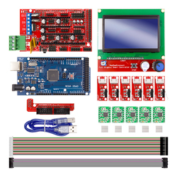 CNC Kit de Impressora 3D para Arduino Mega 2560 R3 + RAMPS 1.4 Controlador + LCD 12864 + 6 Limit Switch encosto + 5 A4988 Motorista Stepper