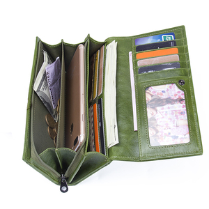 Image 3 - Contacts Genuine Leather Women Wallets Female Long Clutch Photo Holder Wallet Large Capacity Purses With Money Phone Bags