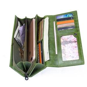 Image 3 - İletişim hakiki deri kadın cüzdan kadın uzun debriyaj fotoğraf tutucu cüzdan büyük kapasiteli çantalar para telefonu çanta