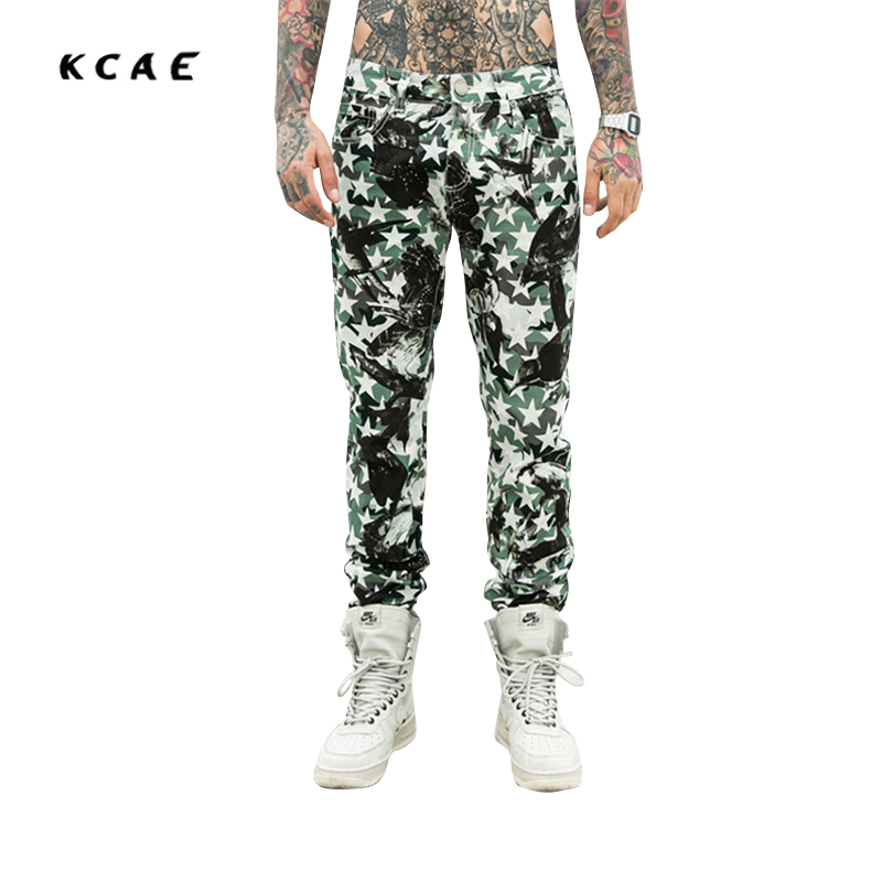 2017 New 3D Printed Jeans For Men Biker Fashion Brand Clothing Skinny Denim Pencil Full Length Casual trousers Army Green new men flower print skinny jeans fashion denim pencil trousers 0931