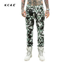 2017 New 3D Printed Jeans For Men Biker Fashion Brand Clothing Skinny Denim Pencil Full Length Casual trousers Army Green