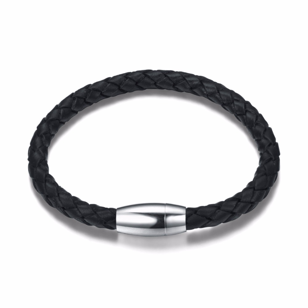 Never Fade 316 Stainless Steel Men Leather Bracelet Jewelry Man Charm Bracelet For Male Accessories Hand Cuff