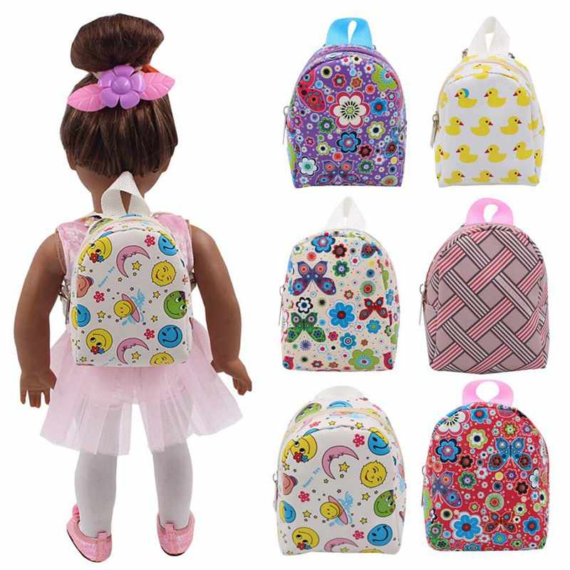 Doll Accessories 6 Styles Cute Backpack Schoolbag For 43cm Baby American Doll And 18 Inch Doll Colorful Birthday Gift