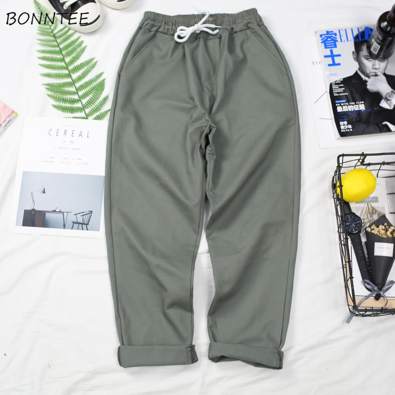 Pants Men BF Casual Korean Style New Trendy Males Ulzzang Trousers Mens Straight Full Length Solid All Match Drawstring Pockets