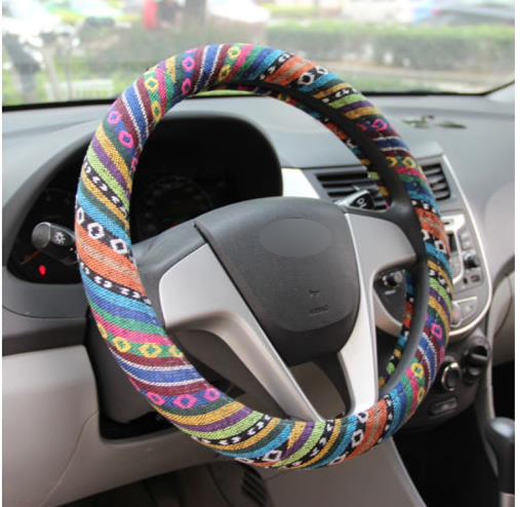 Universal 38cm/ 15 Car Auto Steering-Wheel Cover Anti Slip Breathable Steering Wheel Wrap Natural Fibers Car Accessories