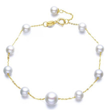 18K Yellow Gold Natural Cultured Freshwater Pearl Charms Bracelet Bangles Wedding Jewelry Women Chain Link Bracelets