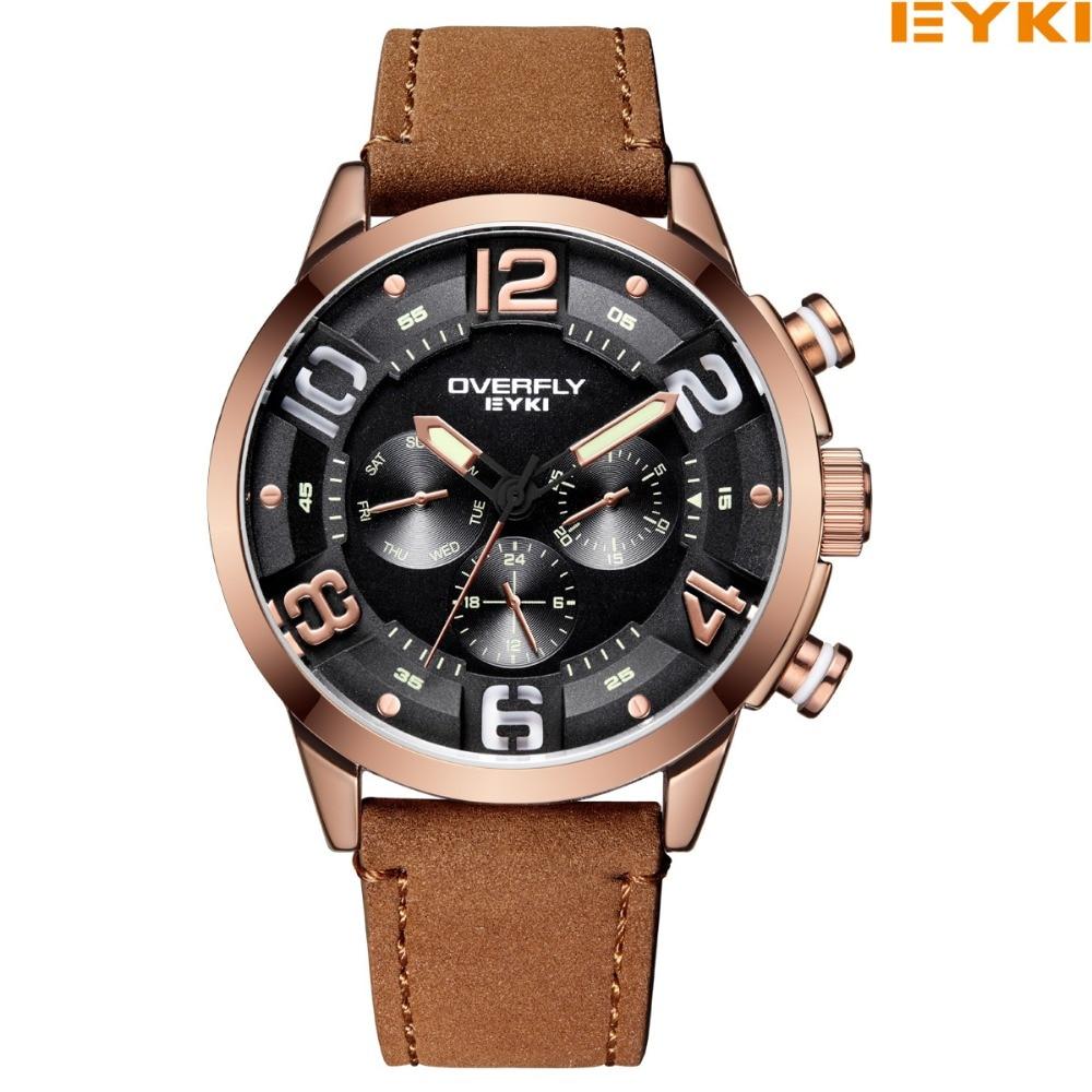 EYKI Brand Men Watch Casual Leather Watches Waterproof Quartz Watch Military Wrist Watch Men Clock Relogio Masculino