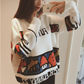 2016 College style Spring autumn Cartoon Printed O-neck women pullover sweater  women's short style sweater