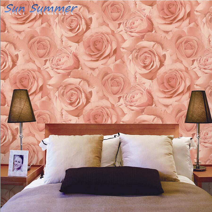 Purple Pink Rose Wallpaper Bedroom Wall Personalized Decoration In Wallpapers From Home Improvement On Aliexpress Alibaba Group