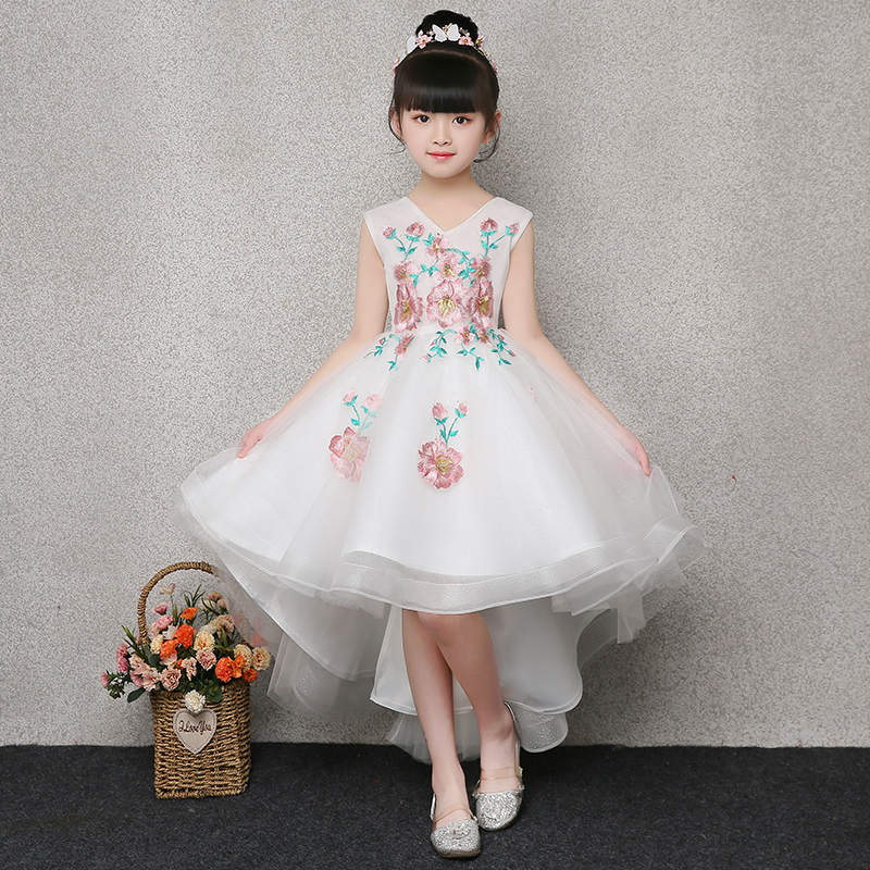 White First Communion Dresses Lovely Girl's Princess Dress Embroidery Flower Girl Dress Ball Gown Kids Pageant Gown V-neck E265 white casual round neck ruffled dress