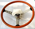 High quality 15 inch 38cm universal vintage classic wood wooden vintage car steering wheel with horn button adaptor all handmade