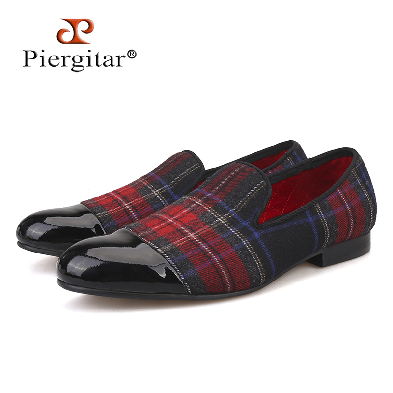 Piergitar new Handmade men loafers with gingham designs and black leather toe wedding and party slip-on men smoking slippers