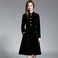 Black Vintage Dress Women Elegant Slim Long Sleeved Velvet Party Dress Ol Office Wear 2017 New