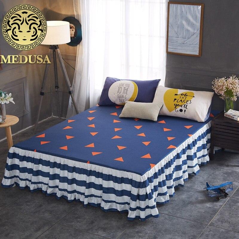 Medusa 2018 cotton nordic coverlet/bed skirt pillow cases 3pcs sheet set double full size
