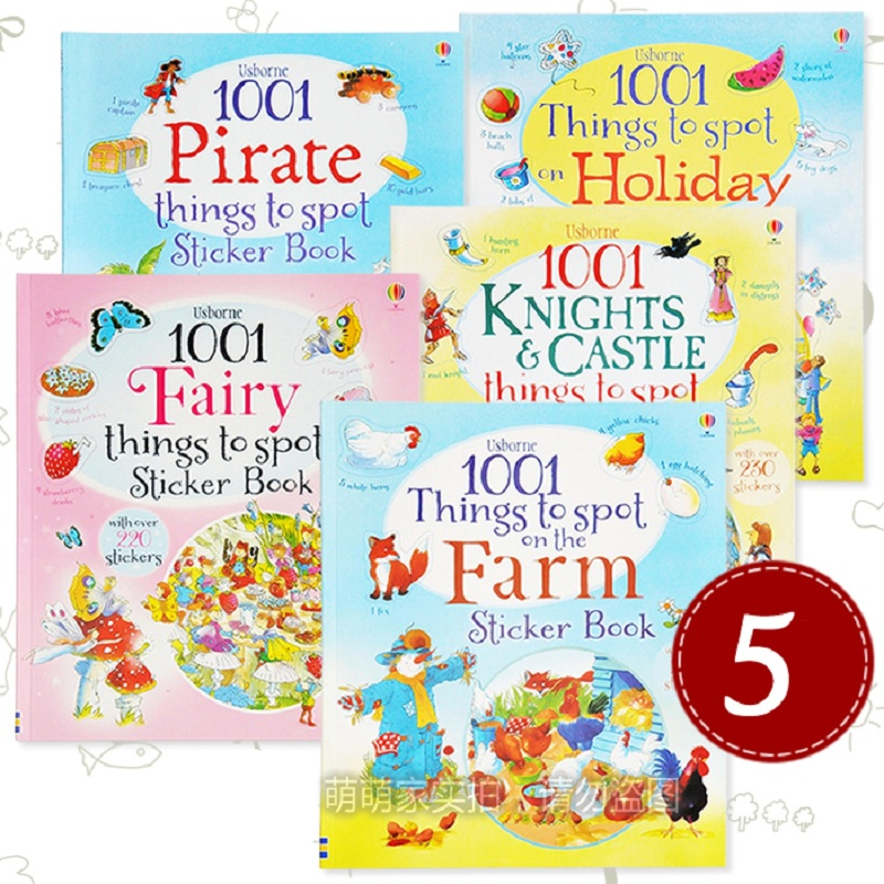 25*21cm Children 1001 Things To Spot With Over 250 Stickers Books/kids Babay Cartoon Farm/holiday/pirate/fairy Learning Books