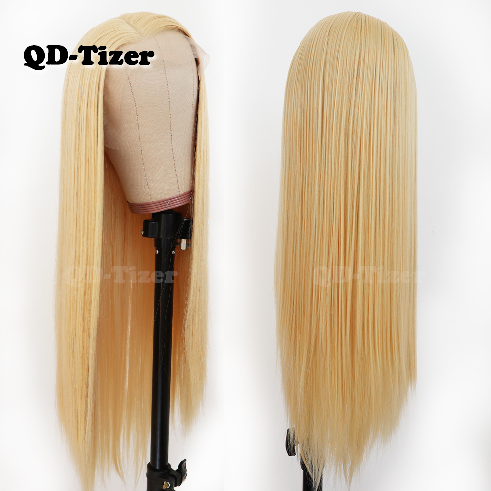 Image 2 - QD Tizer Hair Long Straight Hair #613 Color Lace Hair Glueless Heat Resistant Synthetic Lace Front Wigs for Black Women-in Synthetic Lace Wigs from Hair Extensions & Wigs