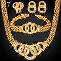 U7 Африканские Ожерелье Браслет Серьги Кольцо Ювелирные Комплекты Позолоченные Дубай Украшения Для Женщин S628