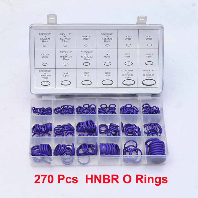 Mainpoint 270 Pcs 18 Sizes Kit Air Conditioning HNBR O Rings Oring Garage Set Car Auto Vehicle Repair With Case