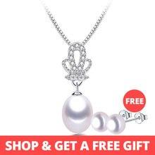 8b37aaf07814 Alta calidad 100% Natural de agua dulce blanco perla colgante collar de la  collar de moda de las mujeres 925 corona de plata est.