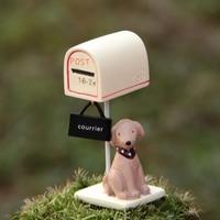 INKANEAR A04 Mini Resin Dog Puppy Mailbox Bonsai Micro Fairy Garden Miniatures Decoration Toys Terrarium Ornament