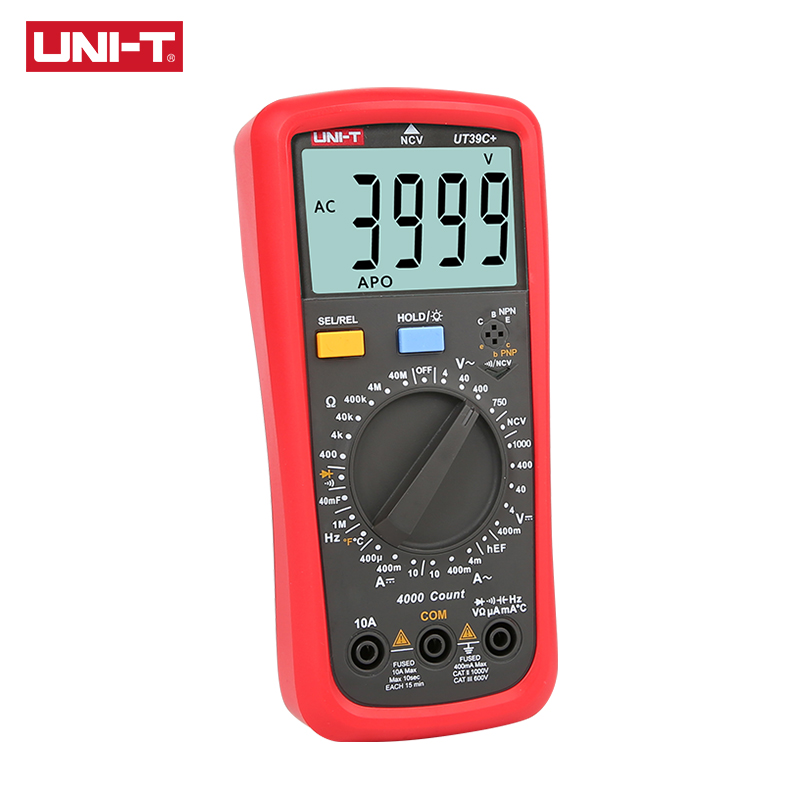 UNI T Digital Multimeter UT39A UT39C Manual Range Electrician Multimetro Capacitor Tester Digital With LCD Backlight Data Hold in Multimeters from Tools