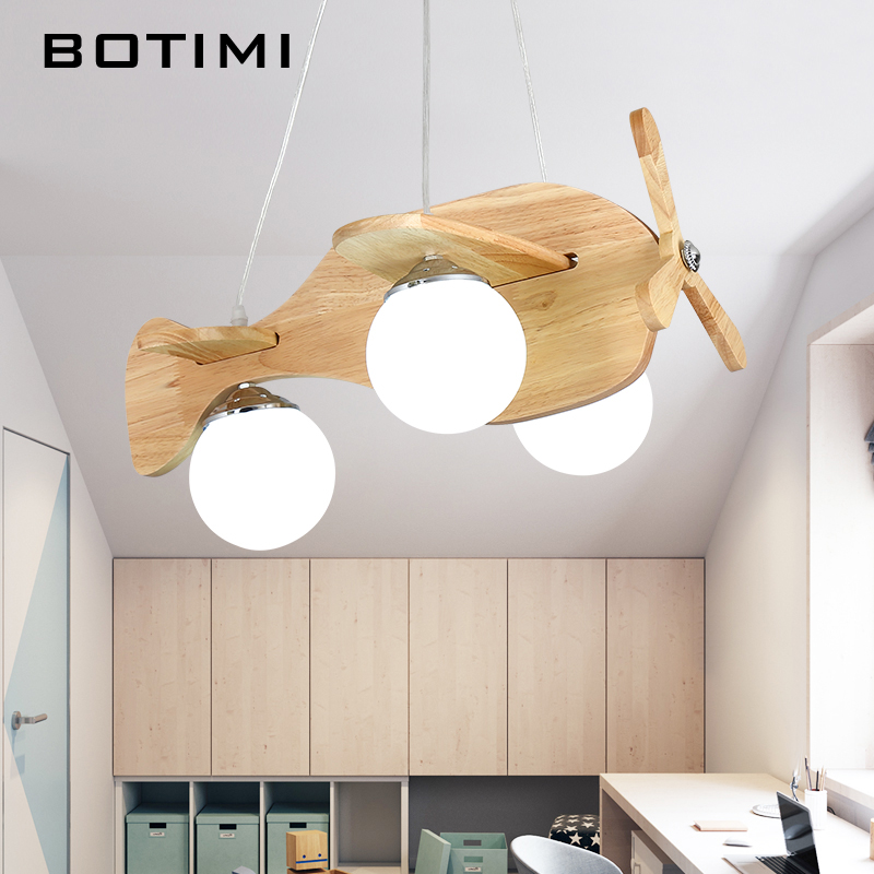 Botimi Wooden Airplane Pendant Lights With Glass Lampshade Cartoon Rooms Light Kids Bedroom Lamp Boys Rooms Hanging Lamps