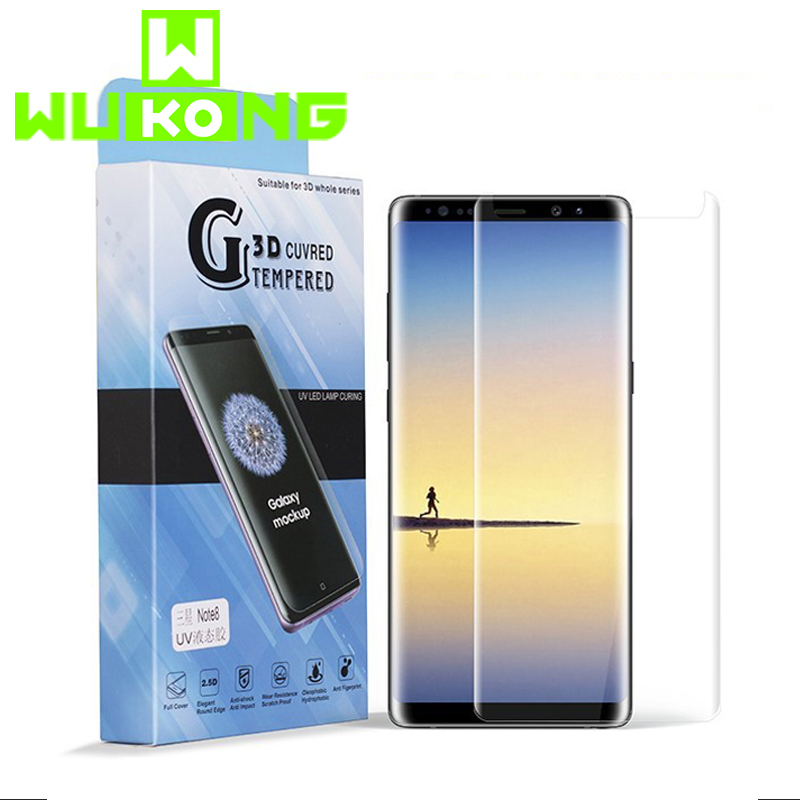UV Liquid Full Glue Screen Protector For Samsung Note 9 S8 Plus S9 Plus Full Cover Tempered Glass For Huawei P30 Pro Mate 20 Pro