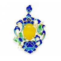 Moda Esmalte Orquídea Azul Calcedonia Amarilla 925 de Plata Esterlina Colgante
