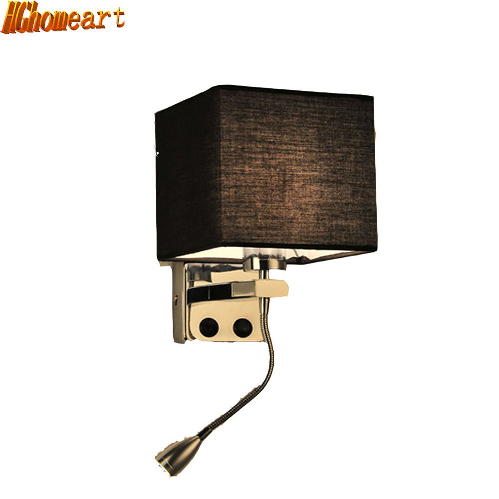 Retro Modern Reading Creative Fabric Hotel Living Room Bedroom Aisle Balcony LED Bedside Lamp with Switch Wall Lamp wall light 12w led wall lamp bedroom bedside living room hallway stairwell balcony aisle balcony lighting ac85 265v hz64