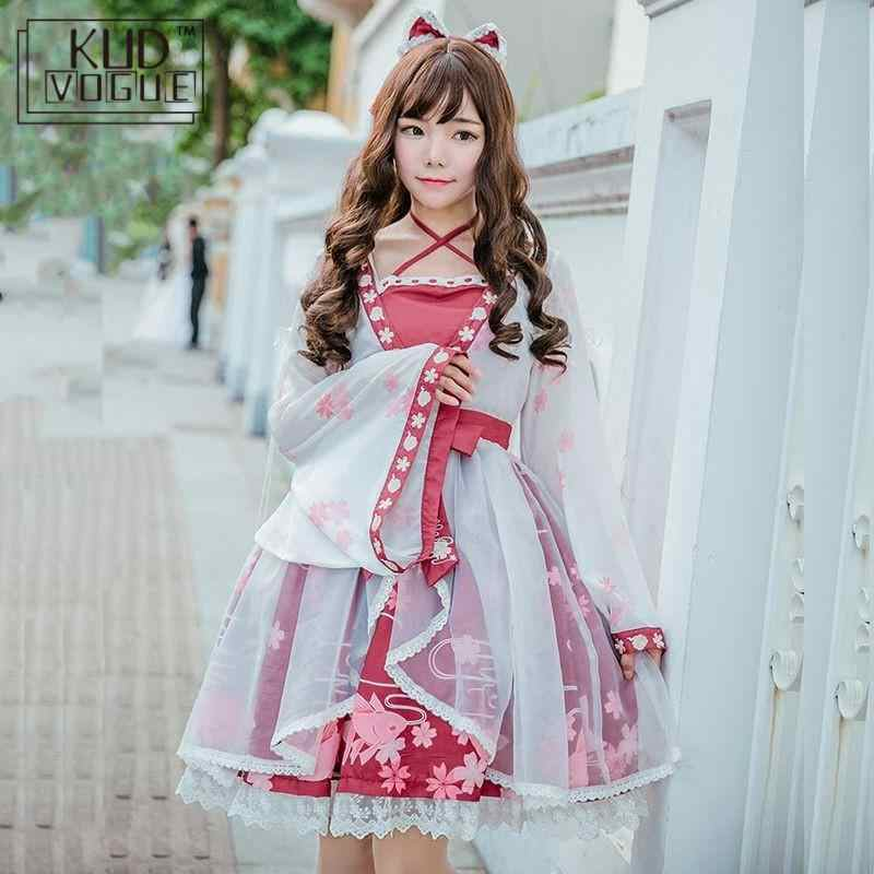 Lolita Dress Chinese Style Goldfish Girl Fake Two Pieces Printing One-piece Sakura Blossom Celebration Kawaii Cosplay Costume