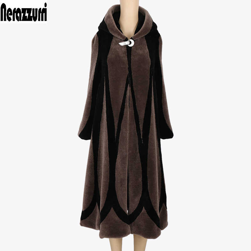 Nerazzurri Winter Patchwork Real sheep fur coat women 2019 elegant hooded plus size long shearling sheepskin coats 5xl 6xl 7xl