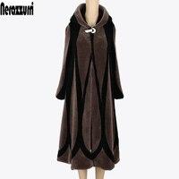 Nerazzurri Winter Coat Women 2017 Patchwork Elegant Hooded Real Fur Coats Plus Size 5XL 6XL 7XL Ladies Extra Long Wool Overcoat