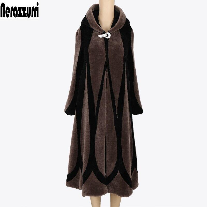 Nerazzurri manteau d'hiver femmes 2019 Patchwork Élégant Capuche Réel manteaux de fourrure grande taille 5XL 6XL 7XL Dames Extra Long Laine Pardessus