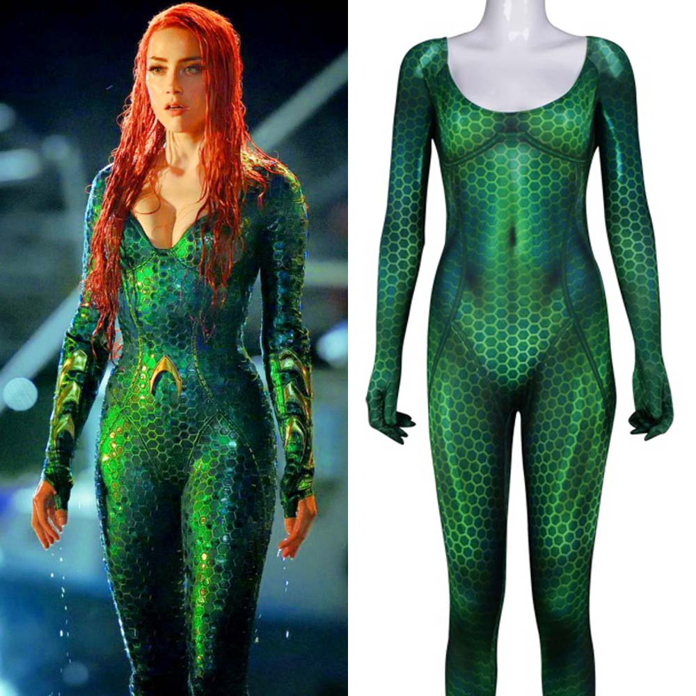 Aquaman Mero Costume Amber Heard Queen of the Sea Mero Bodysuit Justice League DC Superhero Halloween Cosplay Zentai 3D Suit