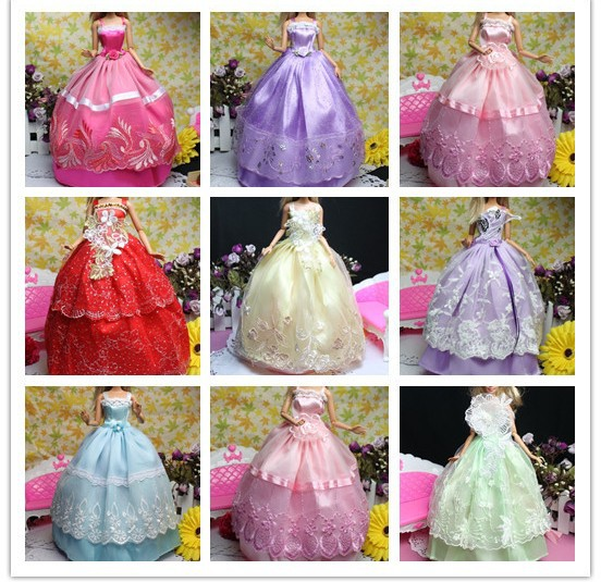 AILAIKI Factory Wholesale Doll Dress Beautiful Elegant Wedding Dresses Yarn Clothes Evening Dress for 1/6 Dolls Toy 60 PCS/lot american girl doll clothes for 18 inch dolls beautiful toy dresses outfit set fashion dolls clothes doll accessories