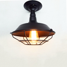 Vintage loft ceiling light black iron cage bedroom living room aisle corridor restaurant bar cafe E27 lamp