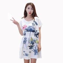 879bc42fd Impresión de flor de las mujeres ropa de dormir de verano de manga corta  camisón rayón pijamas bata casa Casual vestido de