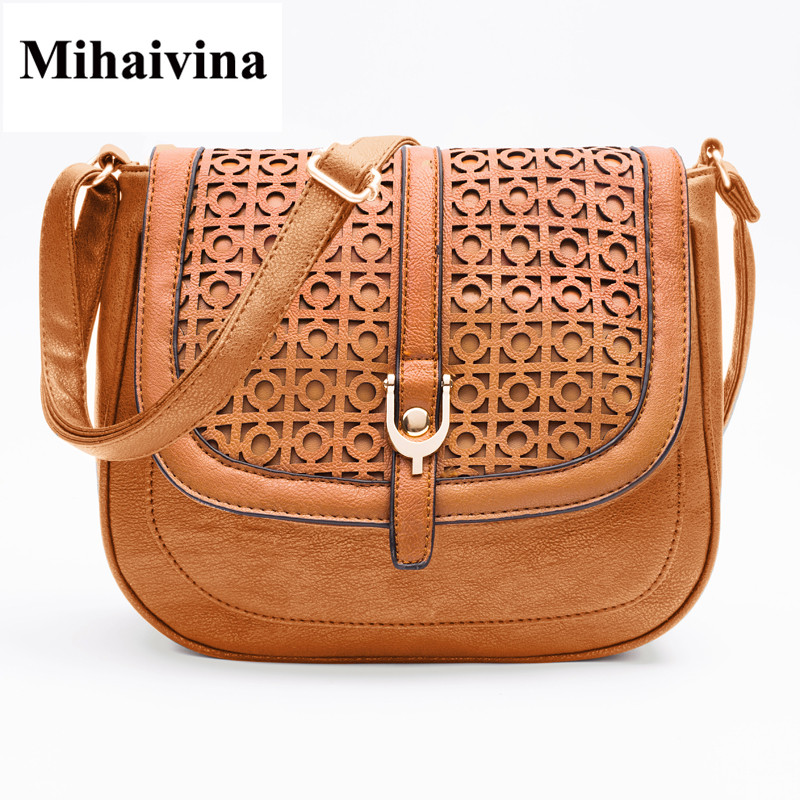 Mihaivina Ladies Casual Shoulder Purse Handbags Hollow Out Women Vintage Messenger Bags Fashion PU Crossbody Bags Bolsa Handbag vintage hollow out choker