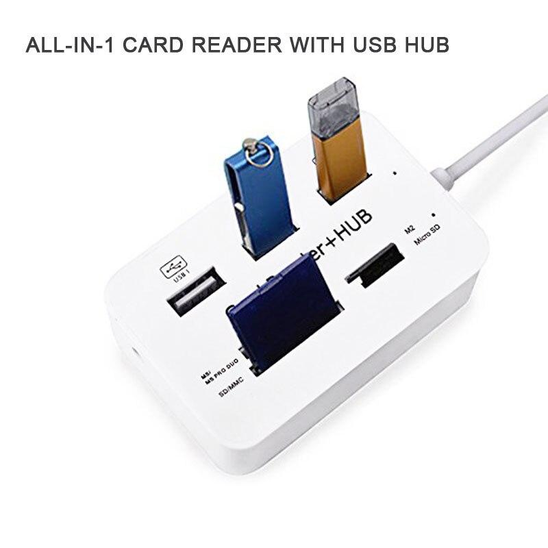 Новый Портативный All In One USB 2.0 хаб 3 Порты с USB Card Reader HUB 2.0 480 Мбит/с комбо для MS/M2/SD/MMC/TF для портативных ПК qjy99 ...