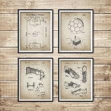 Винтажный футбольный патент, чертеж, плакаты и принты футбольного поля, футбольного мяча, ботинок, ворот, сетевой дизайн, настенная живопись, домашний декор