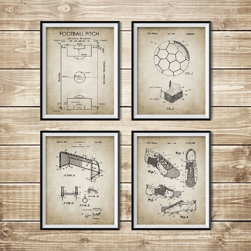 Vintage Soccer Patent Blueprint Posters And Prints Football Pitch,Soccer Ball, Boot,Goal,Net Design Wall Art Painting Home Decor