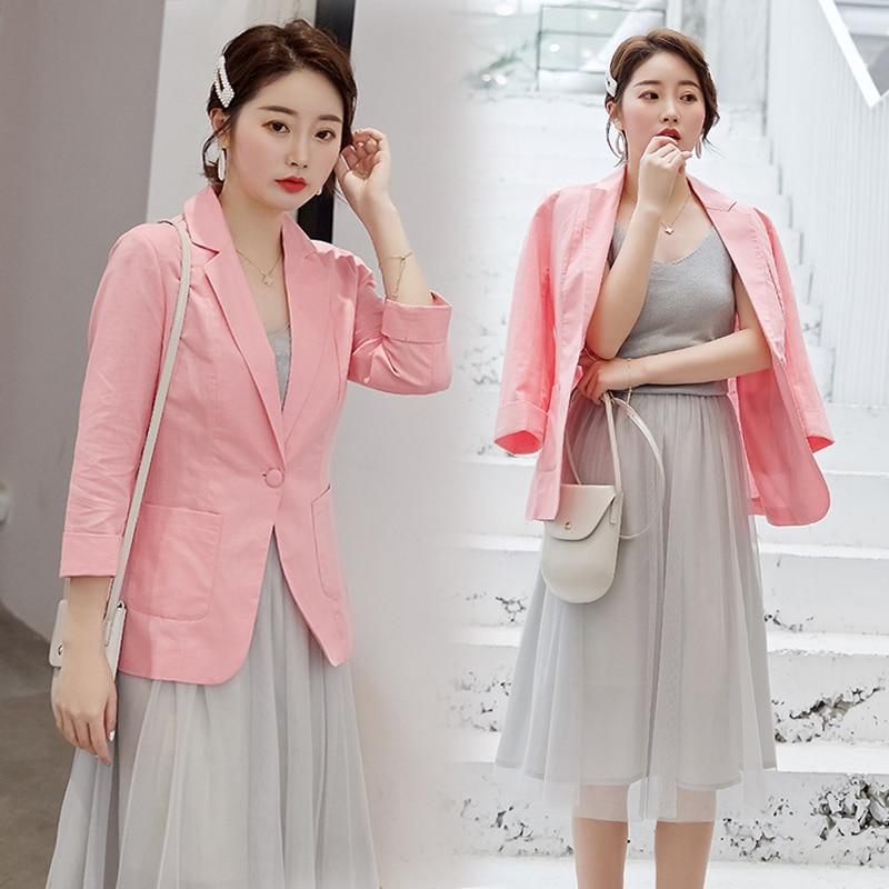 Blazer Feminino Women Cotton Linen Blazer Suit Jacket Female New Spring One Button Suit Blazer Women Blaser Mujer Grey Work Coat