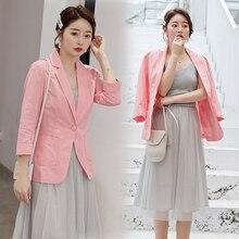 Blazer Feminino Women cotton linen Blazer Suit Jacket Female